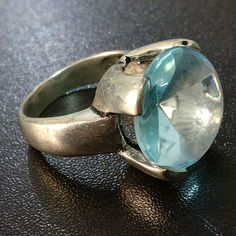 COMELY AQUA STONE SILVER PLATED RING 9.5 | eBay