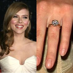 Scarlett Johansson's 3 carat round brilliant diamond is set on a yellow gold intertwined band. https://www.facebook.com/SpitzJewelers