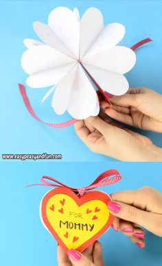 Want to make a cool and pretty unique card for Mother's day? Have the kids make this adorable DIY heart notebook and let them fill the heart shaped pages with their drawings or have them write fun messages. DIY Heart Notebook – Mother's Day Card or Mothers Day Crafts For Kids, Paper Crafts For Kids, Diy Arts And Crafts, Creative Crafts, Fun Crafts, Valentine Crafts For Kids, Homemade Valentines, Mothers Day Cards, Diy Crafts Videos