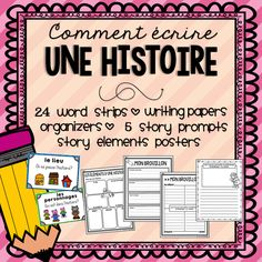FRENCH Story Writing - includes a variety of graphic organizers, writing prompts, and more! French Teaching Resources, Teaching French, Teaching Activities, Teaching Writing, Teaching Ideas, Paragraph Writing, Narrative Writing, Writing Prompts, Kindergarten Language Arts