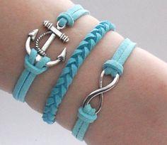 Antique Silver Bracelet, Sailor bracelet, Anchor Jewelry, Blue Bracelet, Simple Bracelet, Everyday Bracelet - Choose Your Anchor And Color on Etsy, $6.99