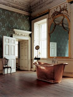 vintage bathroom, love the copper tub! This looks just like a Victorian hotel I stayed at in Wales. Every room was different. Glamorous Bathroom, Beautiful Bathrooms, Bad Inspiration, Bathroom Inspiration, Bathroom Ideas, Design Bathroom, Bath Ideas, Bathroom Interior, Copper Tub