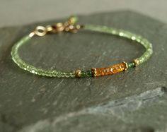 Peridot Bracelet, jade, orange garnet, small gold beads, natural gemstone tiny bead bracelet, stacking, genuine garnet jade peridot jewelry