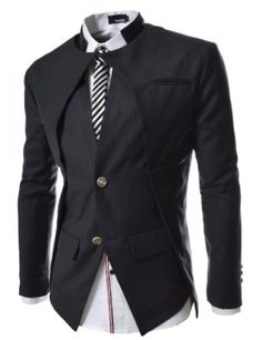TheLees Mens Slim Fit Double Collar 2 Button Blazer Jacket Charcoal  X-Large(US Large). Variation: Size - X Large(US Large).