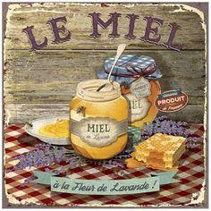 Art Print: Miel by Bruno Pozzo : Decoupage Vintage, Vintage Diy, Vintage Labels, Vintage Cards, Vintage Postcards, Vintage Shoes, Vintage Pictures, Vintage Images, Kitchen Art