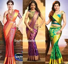 Samantha in Kanjeevaram Sarees – South India Fashion Bridal Sarees South Indian, Bridal Silk Saree, Indian Silk Sarees, Indian Beauty Saree, Saree Wedding, Saree Draping Styles, Saree Styles, Indian Dresses, Indian Outfits