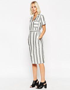 Image 1 ofASOS Shirt Dress in Natural Fibre Stripe