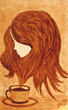 Abstract Woman Canvas Print featuring the painting Coffee Break Coffee Painting by Georgeta Blanaru Coffee Painting Canvas, Canvas Art, Canvas Prints, Turner Painting, Coffee Wall Art, Marble Painting, Painting Wallpaper, Beginner Painting, Easy Paintings