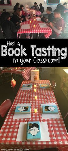 The most fun you've ever had introducing Literature Circles! A great way to introduce students to multiple books in a single setting and then they have input into which book they are to read for class. Reading Activities, Teaching Reading, Guided Reading, Reading Projects, Library Activities, Speed Reading, Close Reading, Kids Reading, Book Tasting