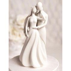 Silhouette of Love White Porcelain Wedding Cake Topper