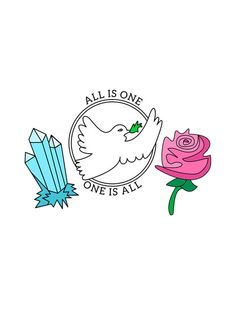 All is One, One is All Art Print. Crystal, peace dove, rose, ahh love
