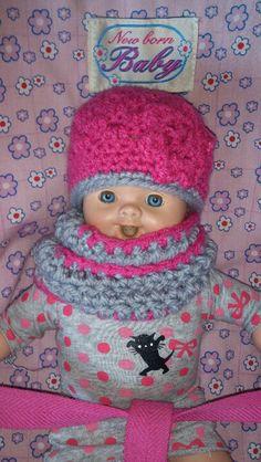 Crochets doll hat and coll.. Poppenmuts en sjaal.. Www.gewoldiggehaakt.nl