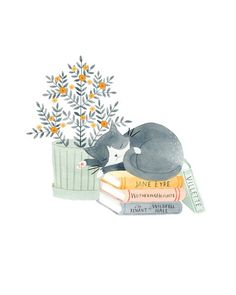 Artwork by Julianna Swaney — Brontë Kitty print ◆ An archival giclée print of an original watercolor painting. ◆ Printed on rich and weighty lightly textured paper that picks up all the subtle. Sleeping Drawing, Cat Sleeping, Illustration Mignonne, Art And Illustration, Cute Animal Illustration, Watercolor Illustration, Art Mignon, Gatos Cats, Sleepy Cat