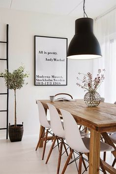 White chairs for new house (Dining room) andy warhol tavla,thonet,eames,hektar ikea lampa Scandinavian Interior Design, Home Interior, Nordic Design, Simple Interior, Scandinavian Living, Scandinavian Dining Table, Scandinavian Furniture, Scandi Living Room, Industrial Scandinavian