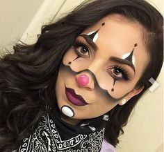 Cute & cool black & white clown makeup for Halloween *no copyright to me I do not own*