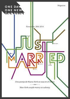 http://oneday-onenew-oneprint.tumblr.com/  November, 30th 2014 _______________ Una pareja de Nueva York se casa en el metro. New York couple marry on subway. http://www.nzherald.co.nz/world/news/article.cfm?c_id=2&objectid=11366605