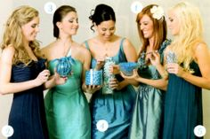 blue green grey mismatched bridesmaid dresses - Google Search