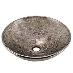 """JSG Oceana Black Nickel 16"""" Glass bathroom Vessel Sink"""