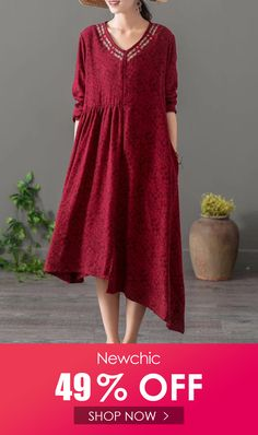 I found this amazing Embroidered Jacquard Asymmetrical Long Sleeve Vintage Dresses with US$46.99,and 14 days return or refund guarantee protect to us. --Newchic #Womensdresses #womendresses #womenapparel #womensclothing #womensclothes #fashion #bigdiscount #shopnow Long Sleeve Vintage Dresses, Vintage Style Dresses, Short Sleeve Dresses, Chic Outfits, Dress Outfits, Dresses Dresses, Ootd Fashion, Fashion Dresses, Overall Dress