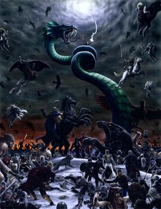 The gigantic sea serpent Jormungandr will writhe, causing tsunamis, and the fire giant Surtur will approach Midgard, with a fiery sword brighter than the sun. Then when the god Heimdall sounds his war horn, the battle begins.