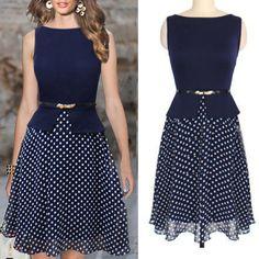 Fashion O Neck Tank Sleeveless Waist Chiffon Mini Dress