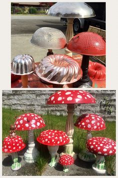 Up cycled Yard Art Mushrooms from old strainers jello molds and candlesticks by Jeanette Crooks