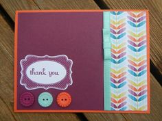 Cute thank you card with main colors of orange light blue and burgundy