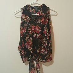 Wet Seal Black floral Red off the shoulder top Perfect condition. Im a size small, so its too big on me Wet Seal Tops Blouses