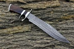 Custom Hand Made Damascus Steel Bowie Knife via DJ Custom Knives. Click on the image to see more!