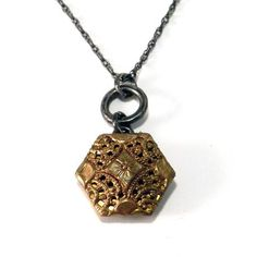 Gold Hexagon Mirror Button - Sterling Silver Antique Button Necklace
