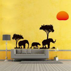 Jungle Wild Elephant Wall Sticker Home Decor
