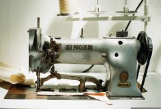 Vintage industrial Singer sewing machine.