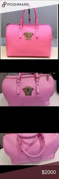 Versace Palazzo pink New authentic authentic Versace pink Palazzo rare hard to find bag in a beautiful Barbie pink color 100% authentic genuine leather with gold medusa comes with a detached able strap could be put on your shoulder or a cross body price is very firm Versace Bags Shoulder Bags