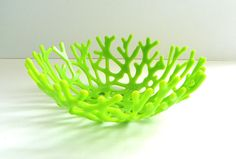 Coral Bowl in Lemon Yellow Opaque Art Glass by UneekGlassFusions