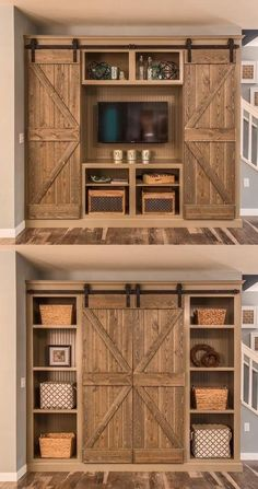 Sliding doors that cover the TV. I have wanted to do something like this for YEARS!