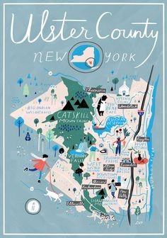 Ulster County map, NY (Catskills/Hudson Valley) on Design*Sponge by Libby VanderPloeg Connecticut, County Map, Upstate New York, Map Design, Map Art, Illustrations, Travel Illustration, Travel Posters, Illustrated Maps
