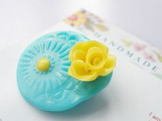 Turquoise Flower Brooch - with Yellow Rose £5.00