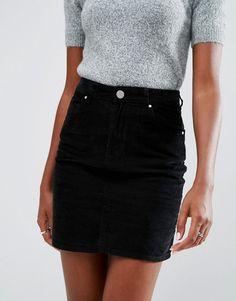 ASOS Cord Original High Waisted Mini Skirt in Clean Black