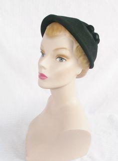 1950s Vintage Black Felt Hat with Decorative by MyVintageHatShop