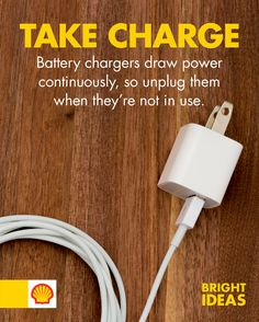 Did you know that leaving a charger plugged in still draws power? Be more eco-friendly by remembering to unplug any devices that are not required to be on all the time, such as toasters and cellphone chargers.  #ShellBrightIdeas