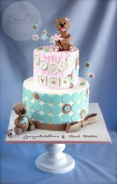 Twins Baby Shower or Birthday Cake