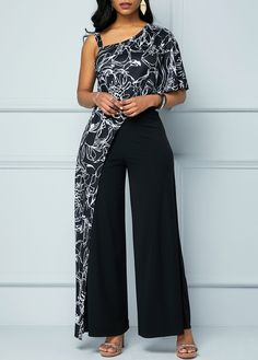 One Shoulder Jumpsuit, Jumpsuit With Sleeves, One Piece Suit, Printed Jumpsuit, Body Size, Smart Casual, Half Sleeves, Retro Print, Plus Size