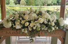 This stunning ceremony table arrangement was so elegant. An all white ceremony space made for a very romantic sight working with the talented 😍 . Table Arrangements, Table Flowers, Wedding Goals, Outdoor Ceremony, Wedding Season, Hydrangea, Weddingideas, Flower Power, Floral Design