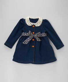 Take a look at this Navy Denim Lace Belted Dress - Toddler & Girls on zulily today!