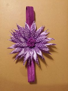 Hand made ribbon flower head band by ThisNThatCraftsByJo on Etsy