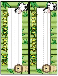 Includes name tags for a jungle themed classroom. Nameplate says