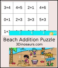 Free Beach Themed Addition Puzzle - with addition from 1 to 12 with a hands-on matching puzzles with a beach scene. - 3Dinosaurs.com #handsonmath #addition #firstgrade #kindergarten #beach #puzzlesforkids #3dinosaurs Kindergarten Learning, Fun Learning, Math Drills, Beach Activities, Picture Puzzles, Free Beach, Math Facts, First Grade Math, Puzzles For Kids