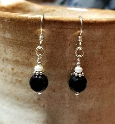 Handmade Earrings - Black & White, Sterling Silver Earwires #MartinMadeBeadThings #DropDangle