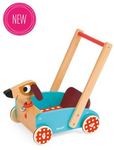 Show details for Janod Crazy Dog Wooden Baby Walker / Toy Cart