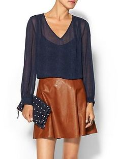Love the camel leather skirt with classic navy.  Joie Galinda Top | Piperlime